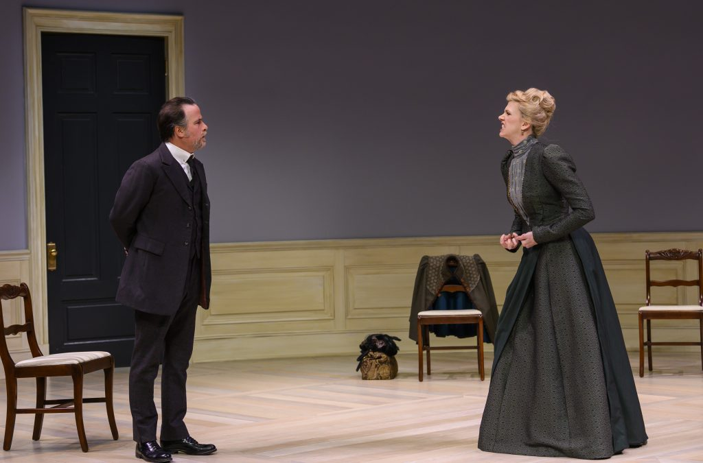 Daniel Krell (Torvald) and Lisa Velten Smith (Nora) in The Public's 'A Doll's House, Part 2.' (photo: Michael Henninger)