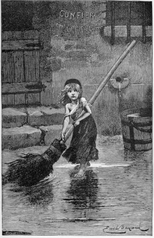 Famous image of Cosette from the Victor Hugo novel. Illustration by Emile Bayard.