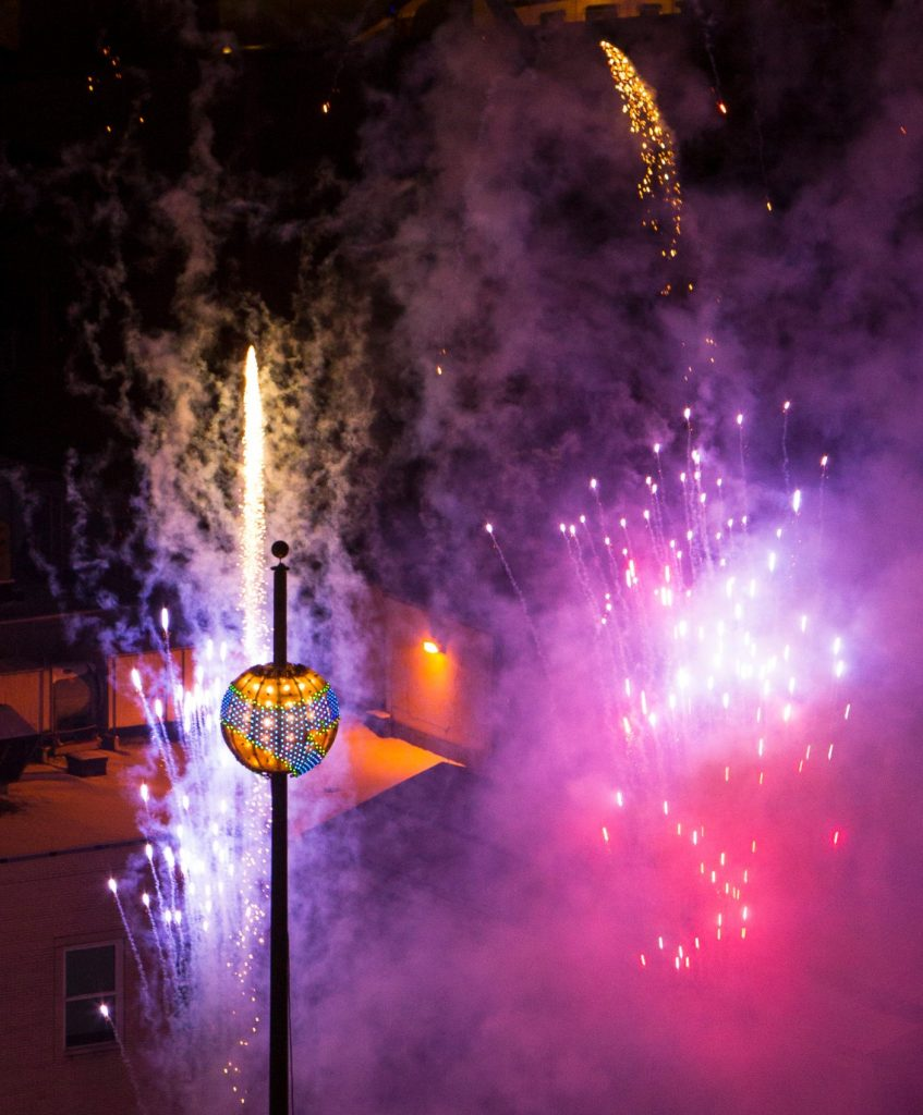 The New Year's ball rises in Pittsburgh. (photo courtesy of Pittsburgh Cultural Trust)