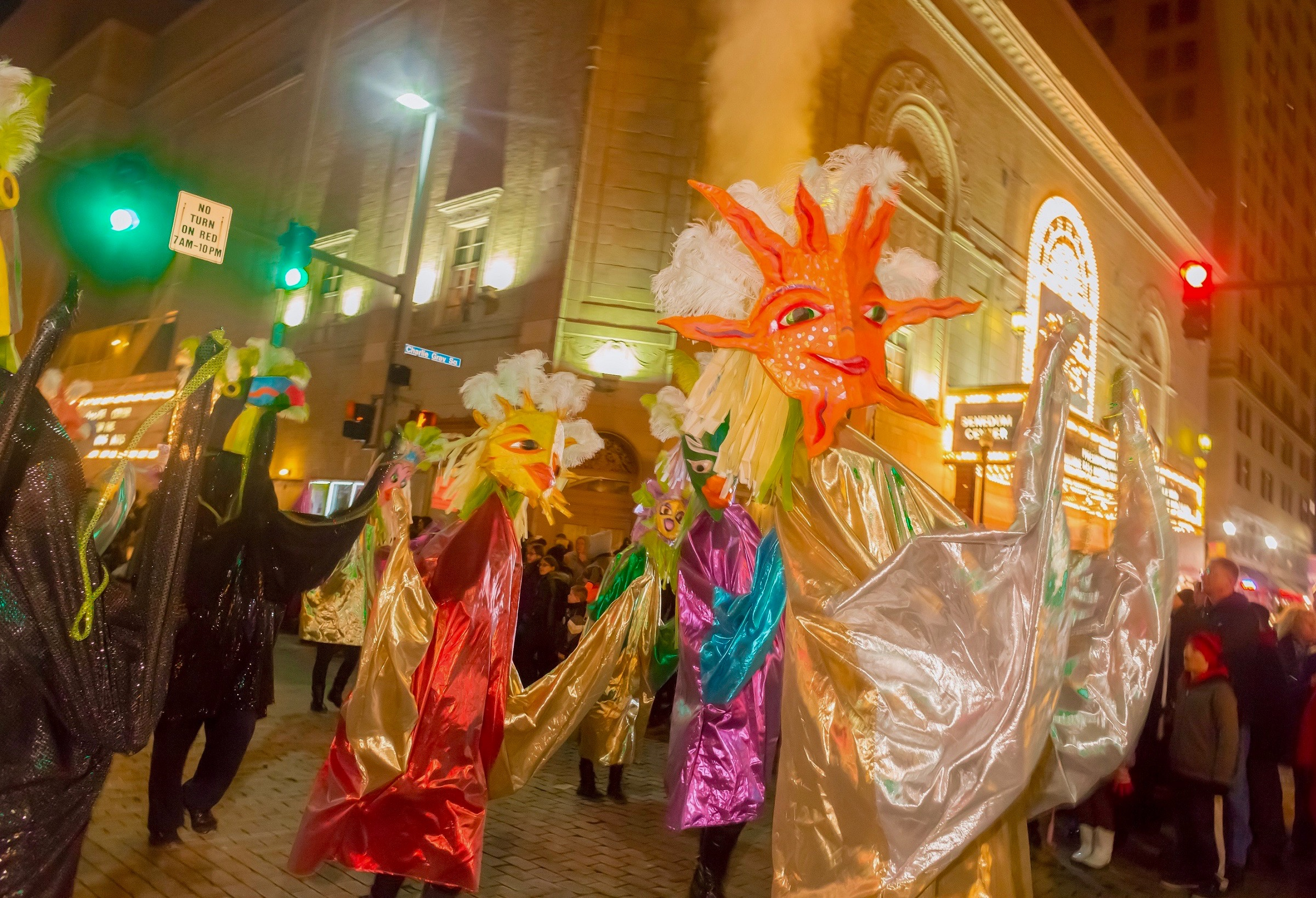 Art on the march in the Cultural District: Giant people-puppets from Studio Capezzuti will highlight the First Night Parade.