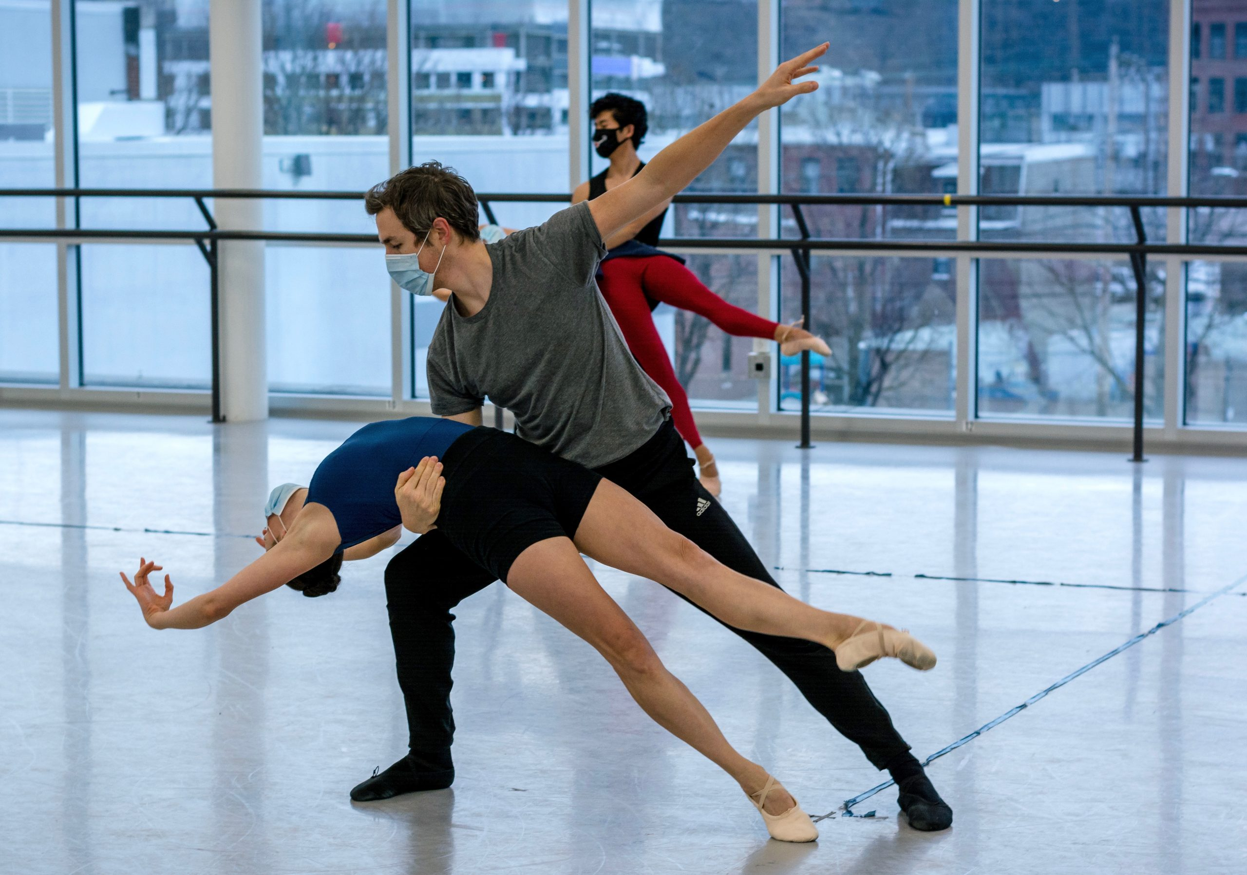 On an icy day, Pittsburgh Ballet Theatre dancers Gabrielle Thurlow and William Moore heat up the studio by rehearsing for Ravel's 'Bolero.' (photo: Nicole Sauter)