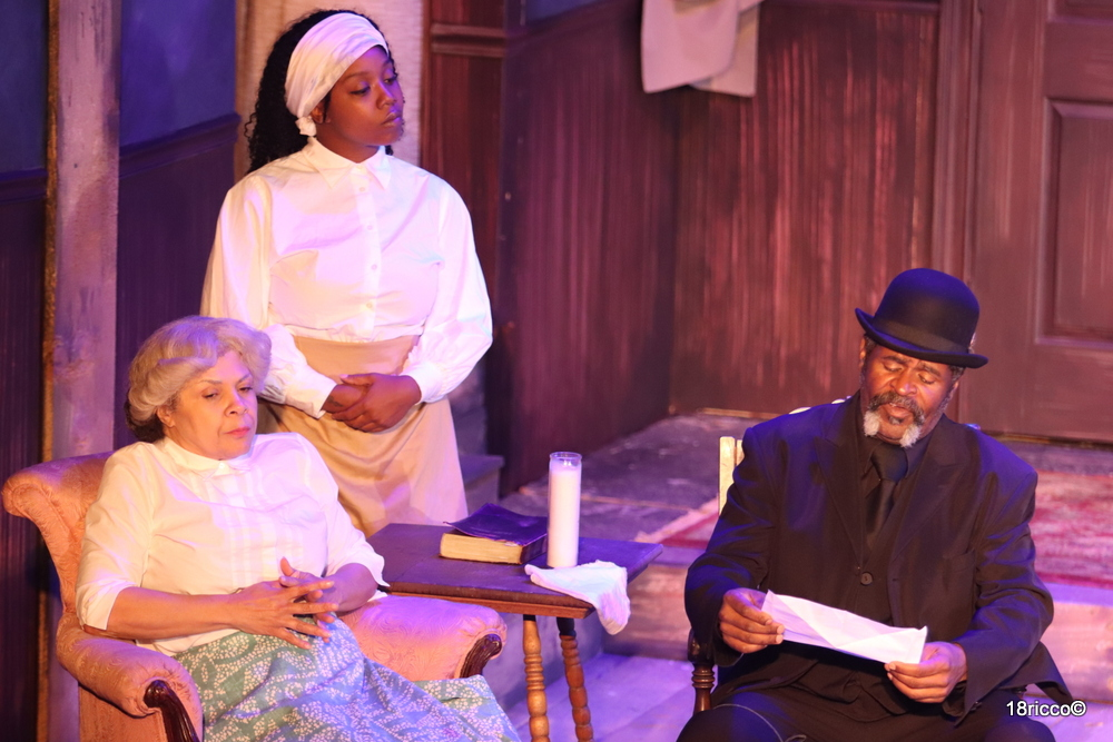 'Gem of the Ocean' is August Wilson's earliest set plays in his Pittsburgh cycle. Seen here in the Pittsburgh Playwrights Theater Company production is (L to R) Chrystal Bates as Aunt Ester, Candace Walker as Black Mary. and Wali Jamal as Caesar Wilks.