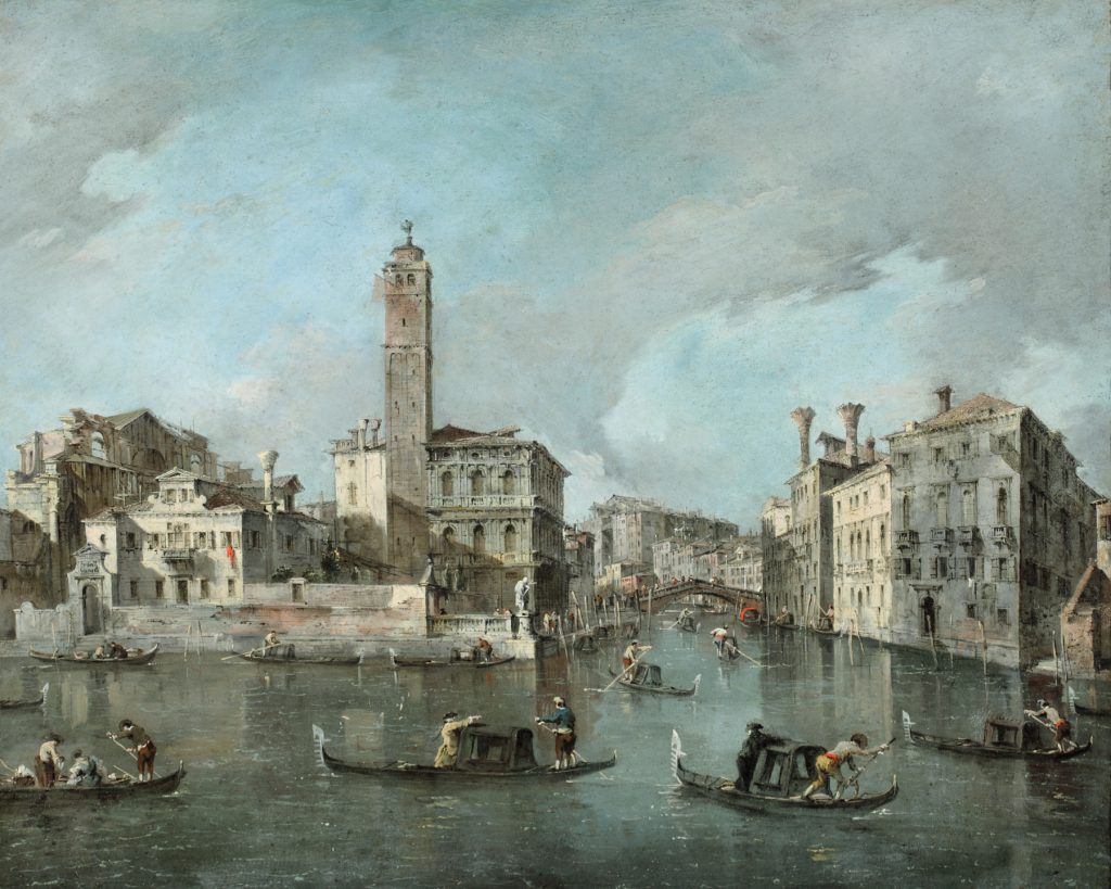 "In the 1700s, before picture postcards, wealthy travelers bought paintings as mementos. Francesco Guardi's ""View on the Grand Canal at San Geremia, Venice"" (1760-65) wound up many years later in the collection of Henry Clay Frick."