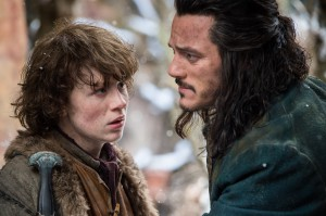 Bard (Luke Evans, R) has to save the day, which Bain (John Bell) agrees is gonna be a tough job all right. (Photo by Mark Pokorny.)