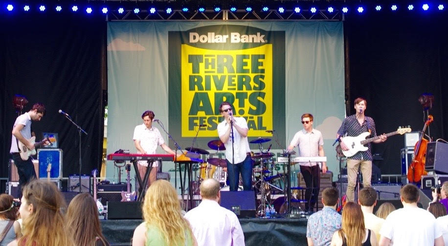 Hey Marseilles played as twilight fell on the Three Rivers Arts Festival Dollar Bank Stage. Photo: Heather McCracken
