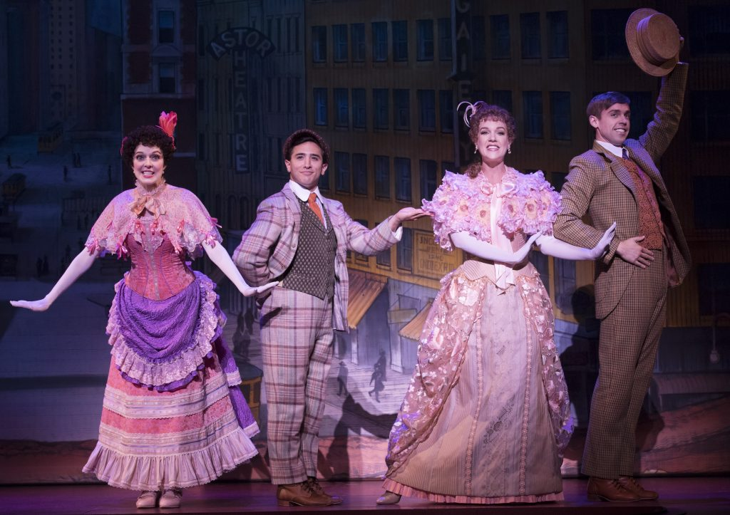 "Minnie Fay (Kristin Hahn), Barnaby Tucker (Sean Burns), Irene Malloy (Analisa Leaming), and Cornelius Hackl (Nic Rouleau) are onstage together frequently in ""Hello Dolly!""."
