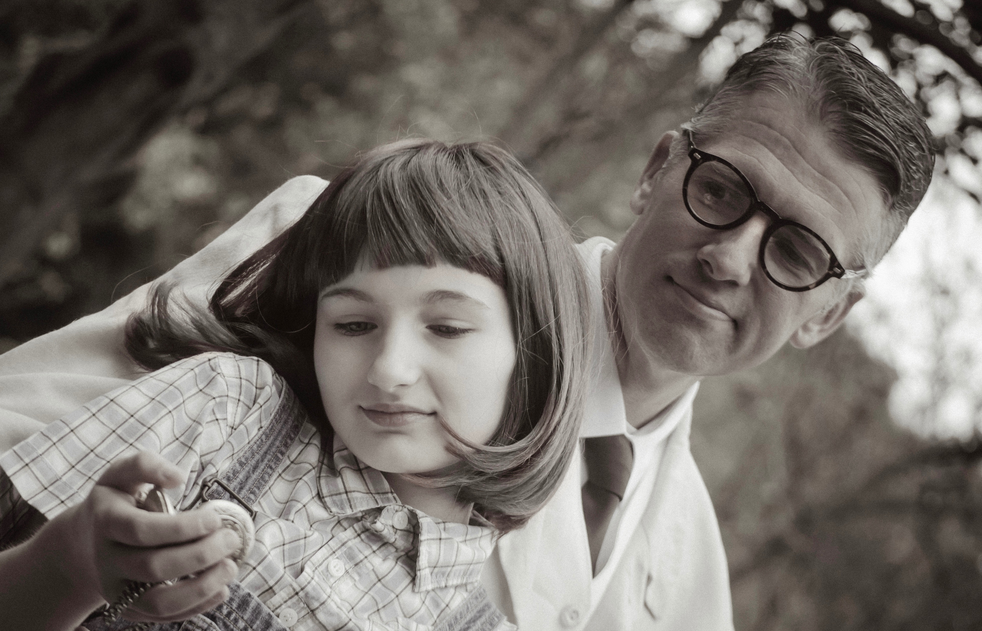 No full-color photo here: 'To Kill a Mockingbird' takes us back to the time when young Scout (Grace Vensel) and papa Atticus (Brian Ceponis) had to face matters of black and white.