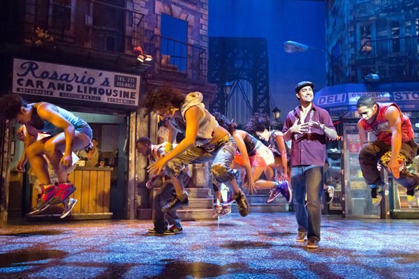 A song and dance scene from 'In the Heights' performed by Philadelphia's Walnut Street Theatre company. The Pittsburgh CLO is staging the musical here this month. photo: Pittsburgh CLO.