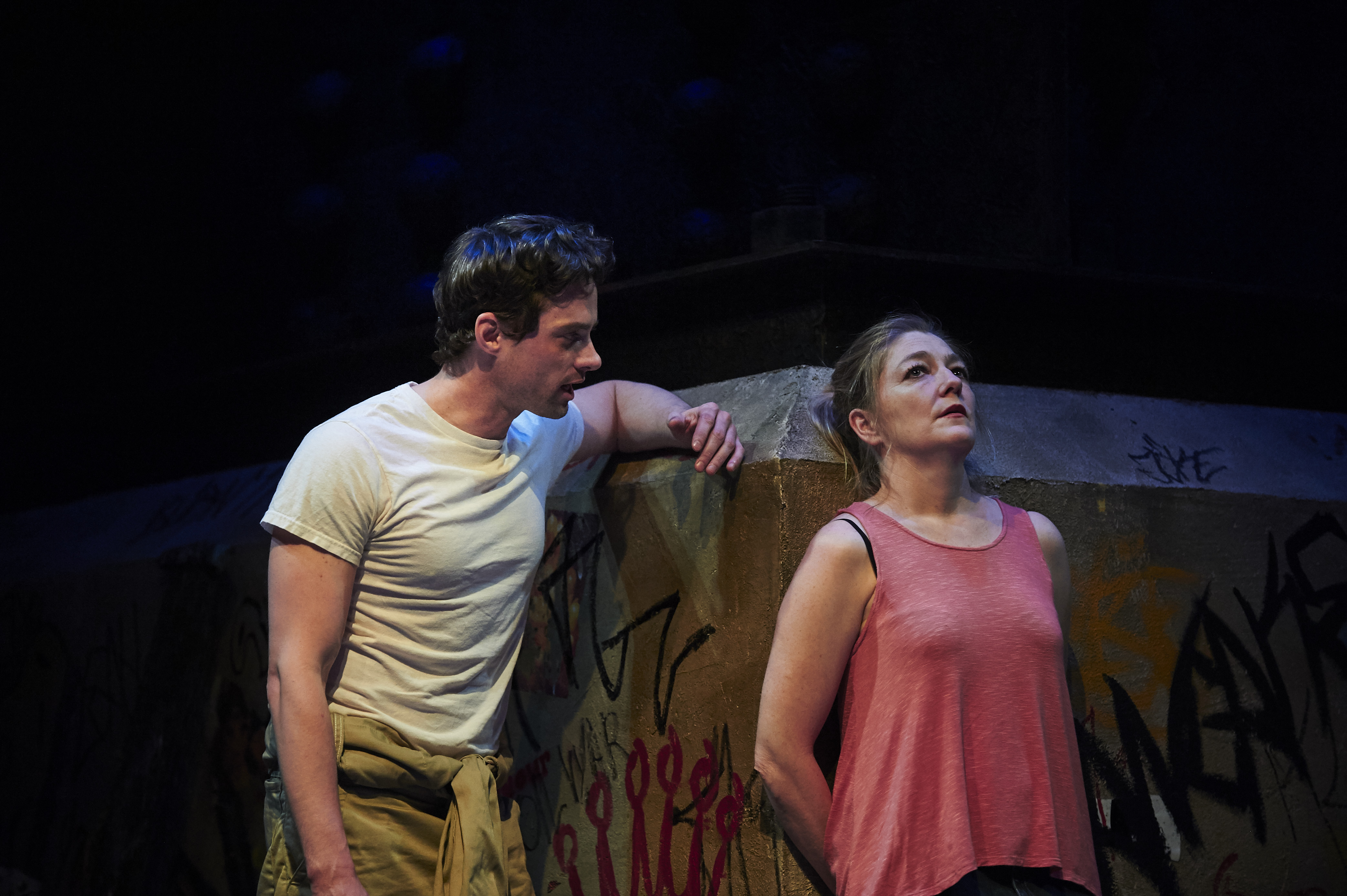 JD Taylor as Maks and Rebecca Harris as Darja in City Theatre's 'Ironbound.' photo: Kristi Jan Hoover.