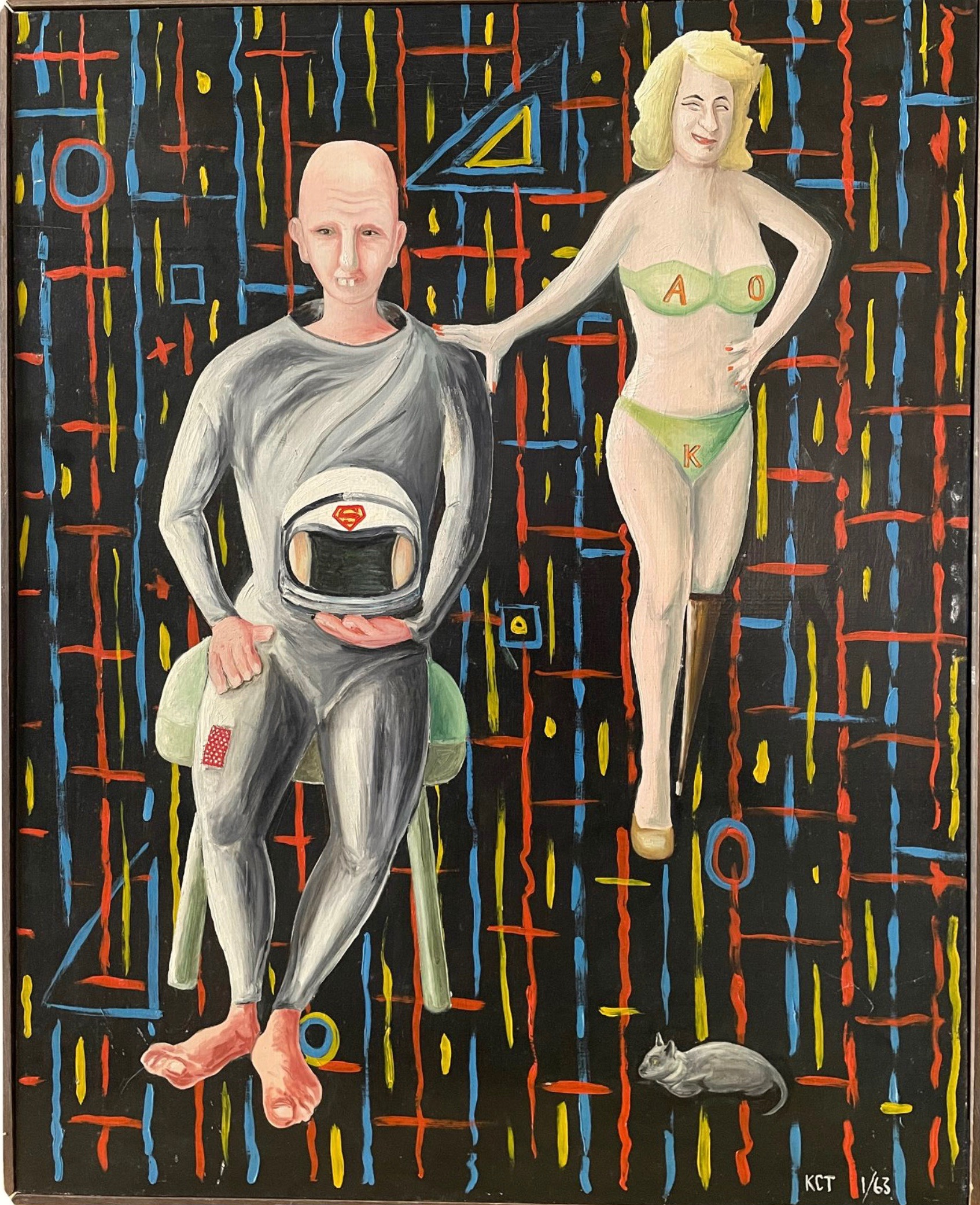 'Is Your Spacecraft Ebbing or Burning Oil?' This painting, by William Truschel, is one of 75 artworks in the Double Dog show.