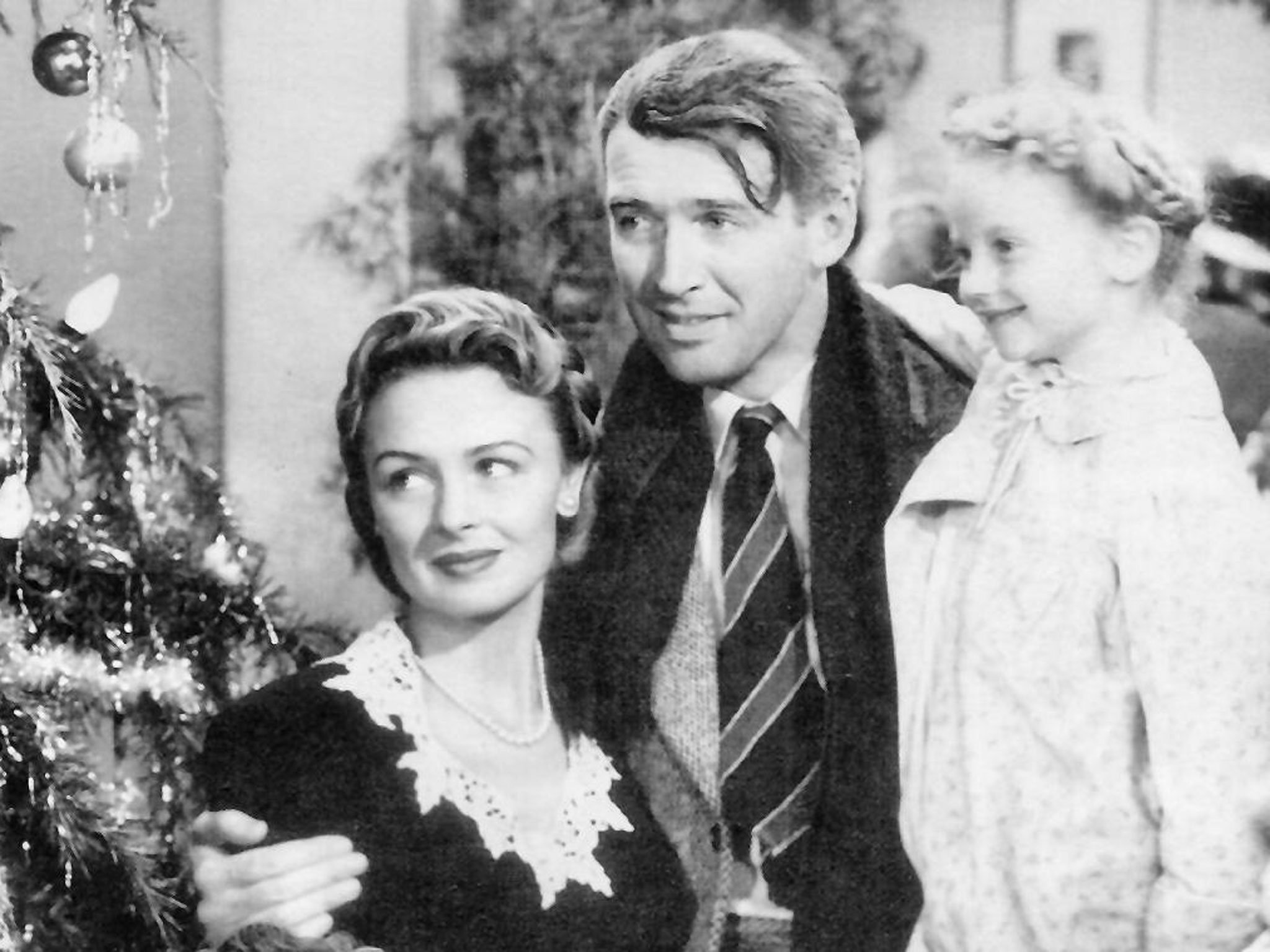 The 1946 film had Donna Reed, Jimmy Stewart, and Karolyn Grimes winning hearts in postwar America. Now you can try the web radio version of 'It's a Wonderful Life.' (screenshot: National Telefilm Associates)