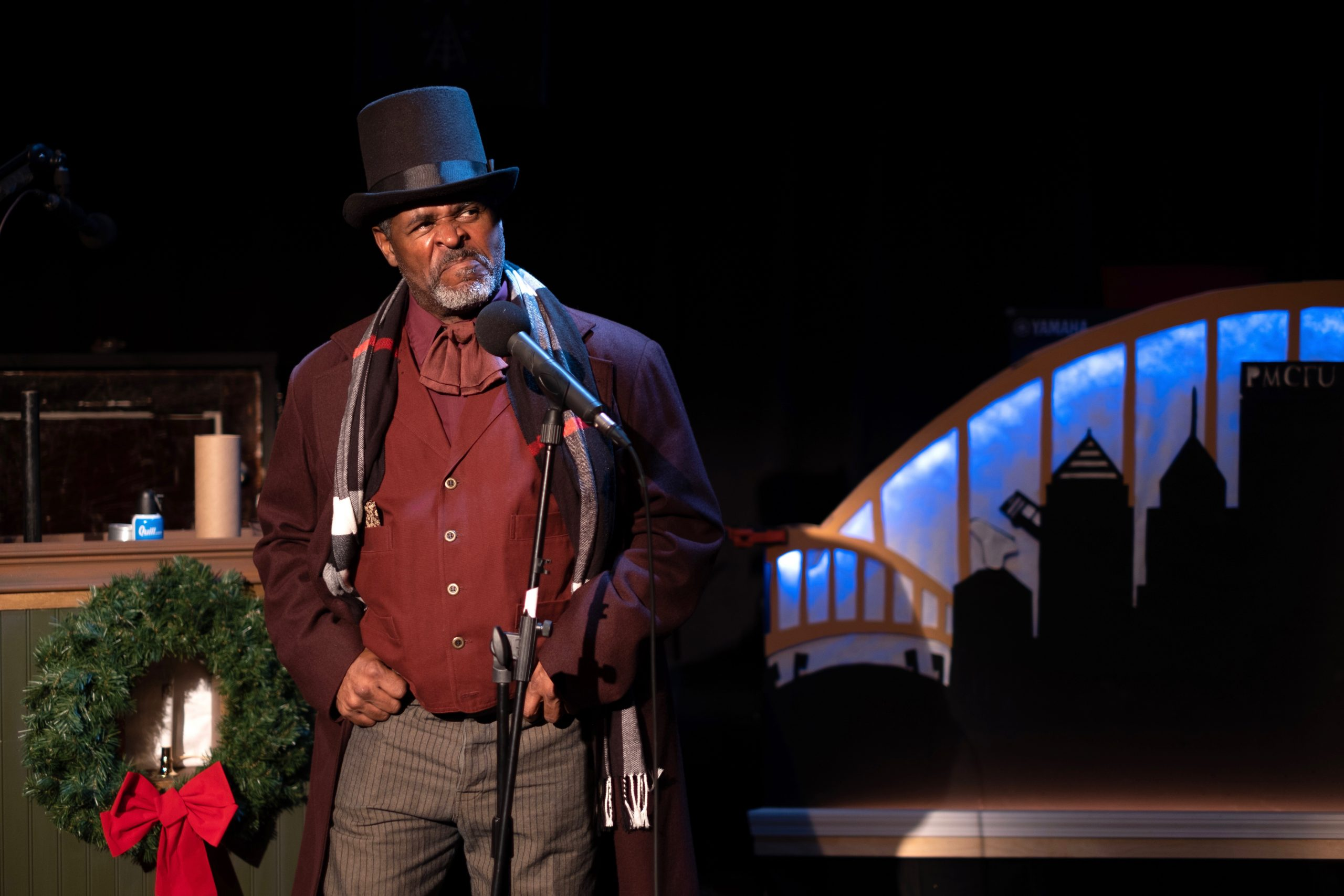 Wali Jamal has acted in all 10 plays of August Wilson's Pittsburgh Cycle. He's also portrayed Wilson in the one-man show 'How I Learned What I Learned.' Here, however, Jamal dons a different hat for Midnight Radio's 'Yinzer Scrooged.' (photo: Handerson Gomes)