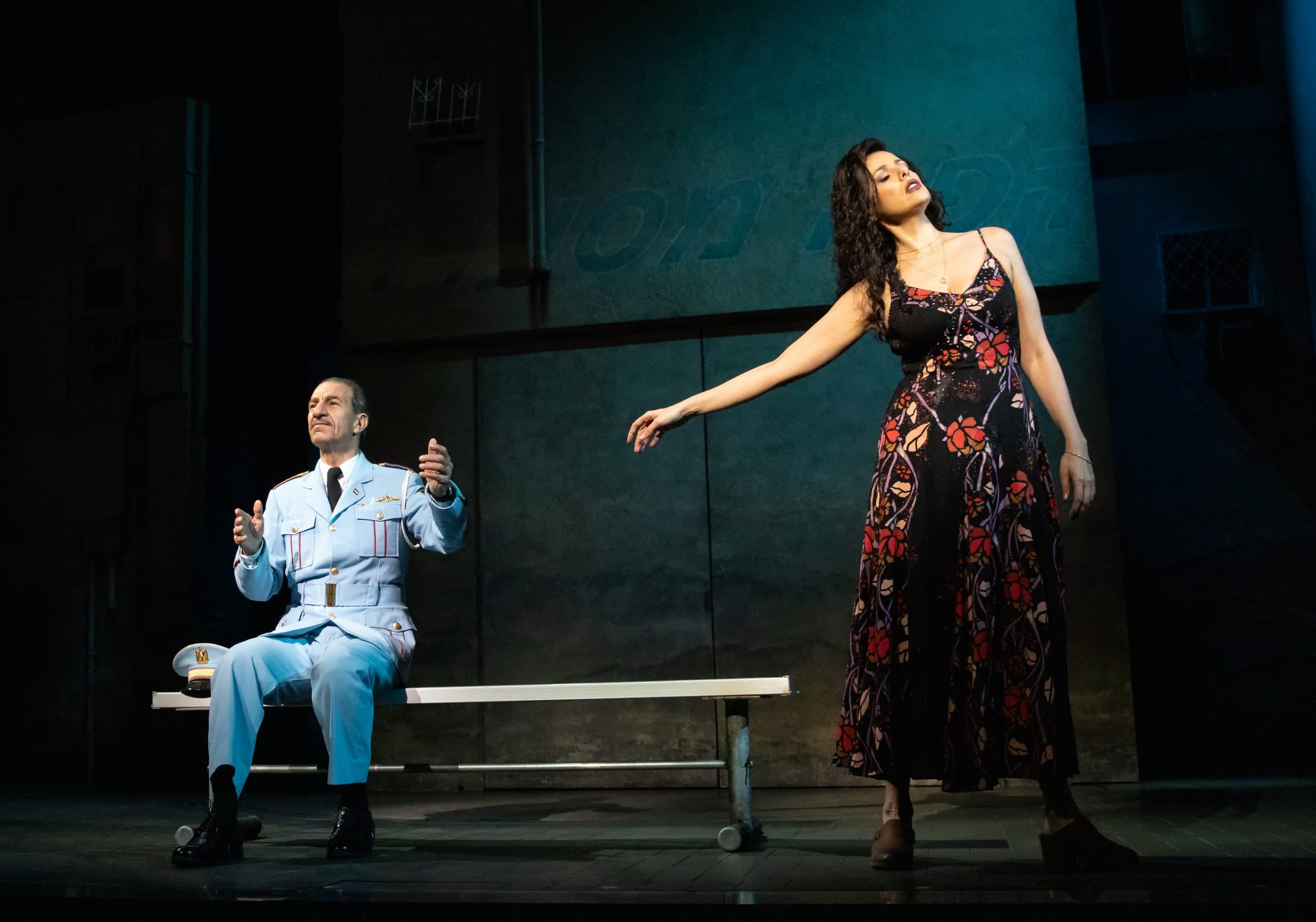 The touring production of 'The Band's Visit' features touching moments between Dina (Janet Dacal) and Tewfiq (Sasson Gabay). Gabay starred in the film on which the musical is based. (photo: Photo by Evan Zimmerman, MurphyMade. )