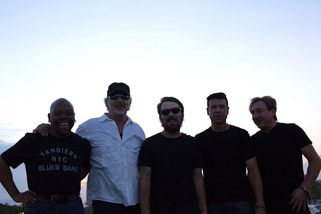 Joe Grushecky and the Houserockers in Asbury Park, New Jersey in 2018 for a concert. (L.to r.) Jeffrey 'Joffo Simmons, Grushecky, Johnny Grushecky, Jeff Garrison, and Danny Gochnour. (photo: Jesse DeFlorio)