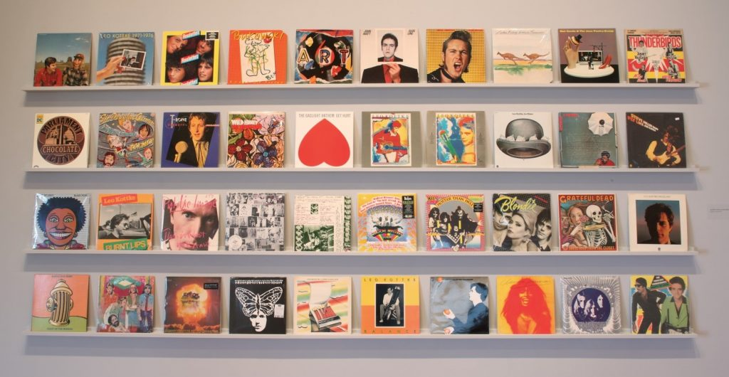 40 albums covers, various dates, Digital print on canvas from original drawing. Collection of the Artist. ©John Van Hamersveld