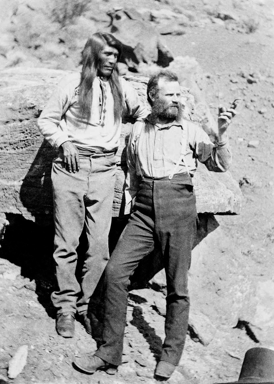 Alpha males: John Wesley Powell (R), some years after his 1869 expedition, with Taú-gu, Great Chief of the Southern Paiutes. (photo: John K. Hillers, early 1870s)
