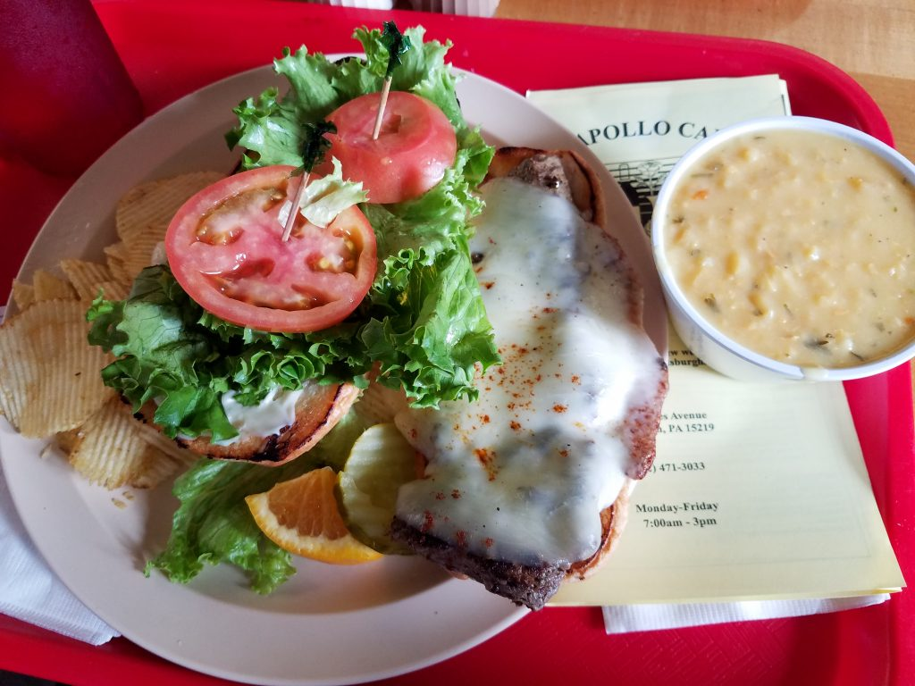 Charcoal grilled steak and cheese sandwich and lemon chicken and rice soup.