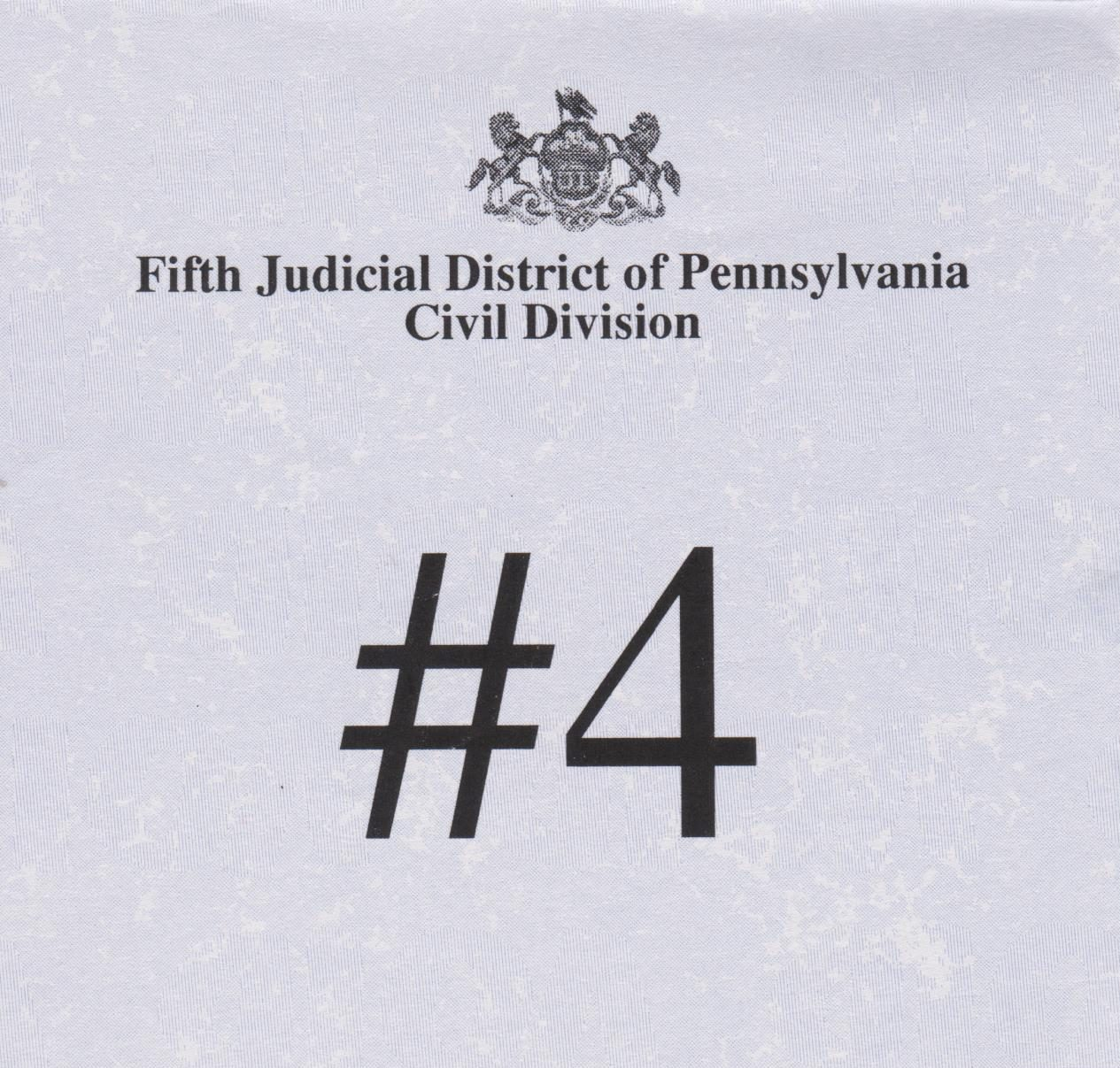 Juror card for trial.