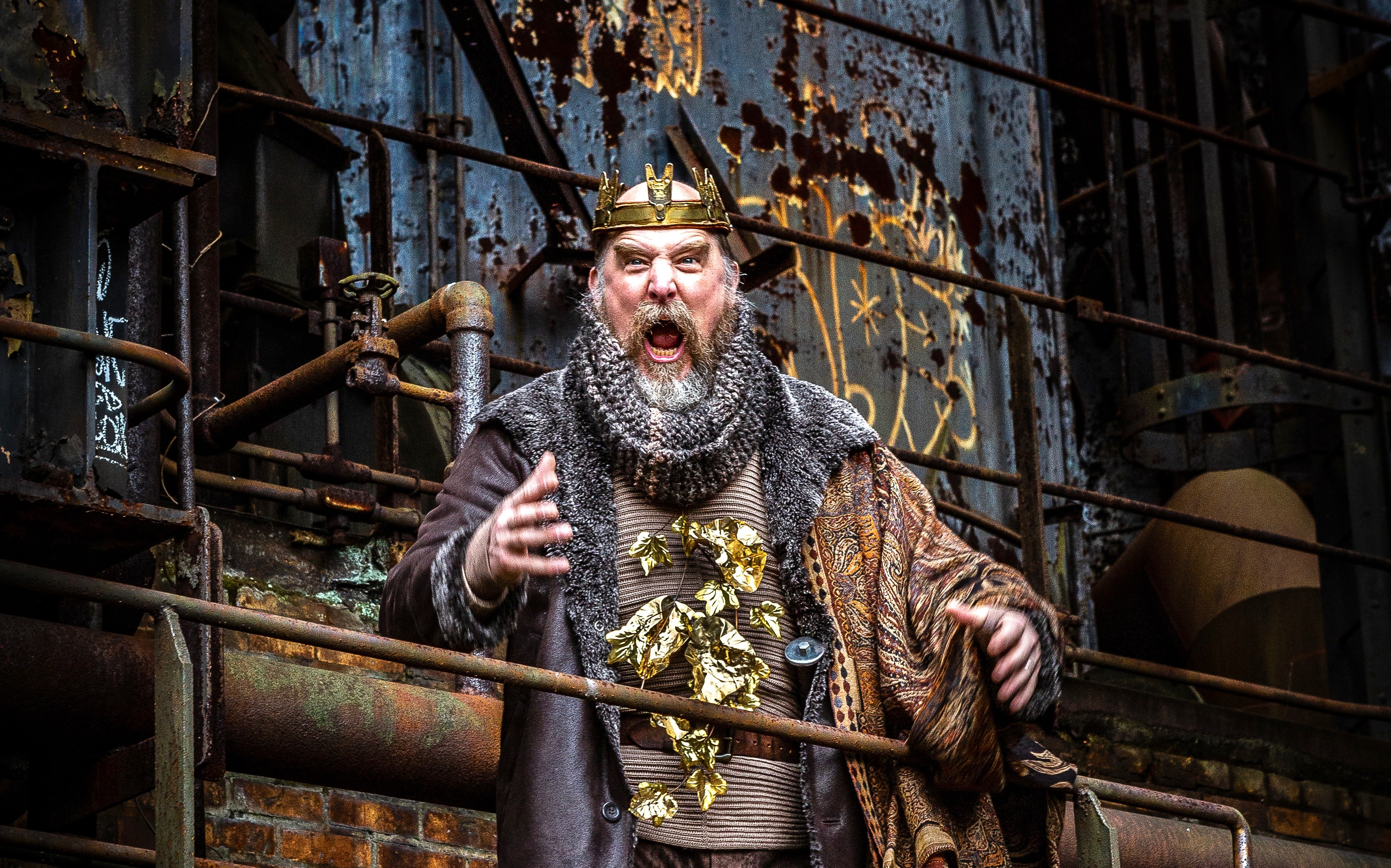 Quantum Theatre's industrial-strength 'King Lear,' staged at the Carrie Furnaces, is one highlight of an adventurous month in Pittsburgh theater. Jeffrey Carpenter roars as Lear. (photo; Heather Mull Photography)