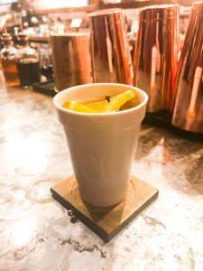 Hot Toddy in an elegant, faux foam cup.