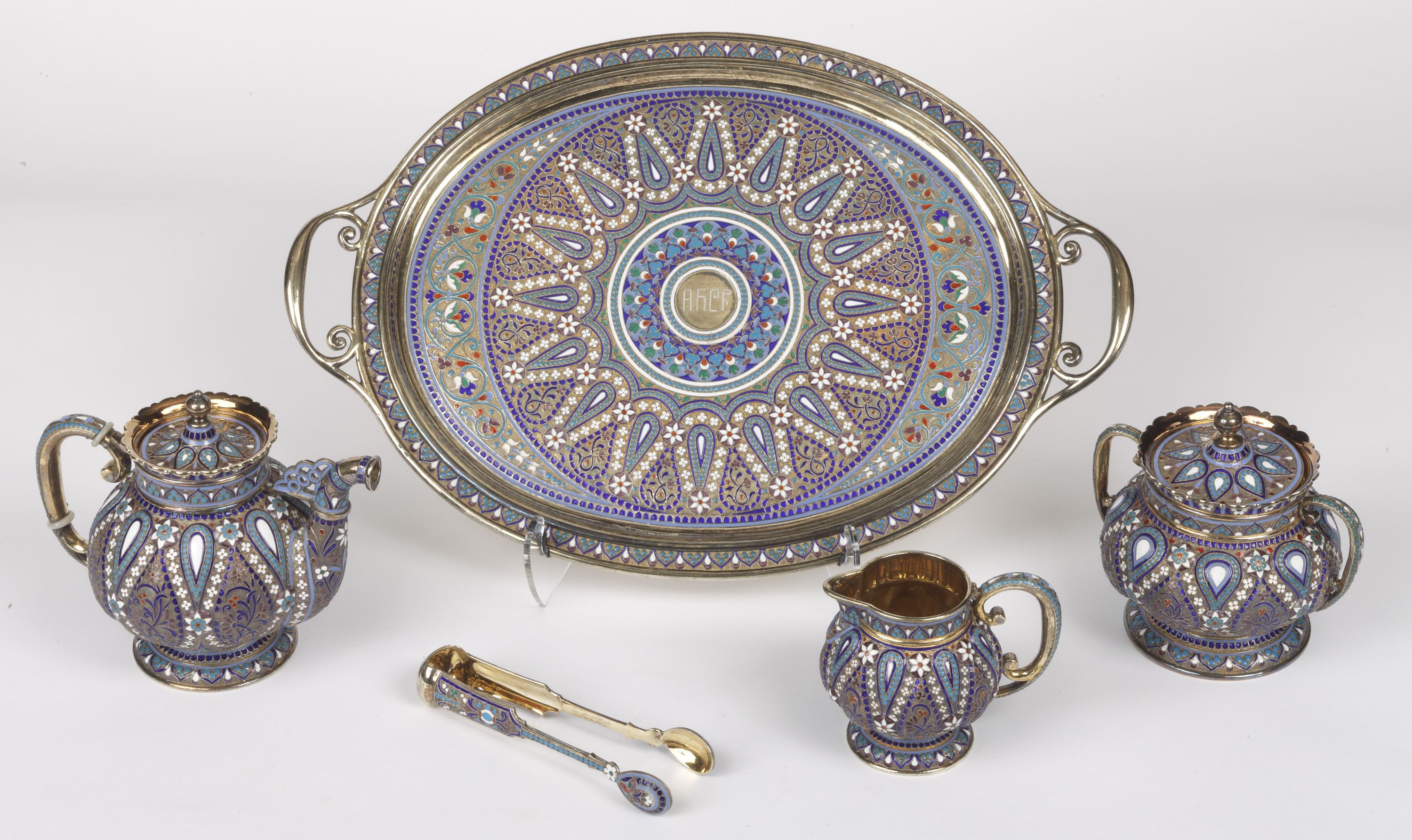 When Henry's wife Adelaide Childs Frick served tea, she could use this decorated-silver tea set from the Russian artist Antip Kuzmichev.