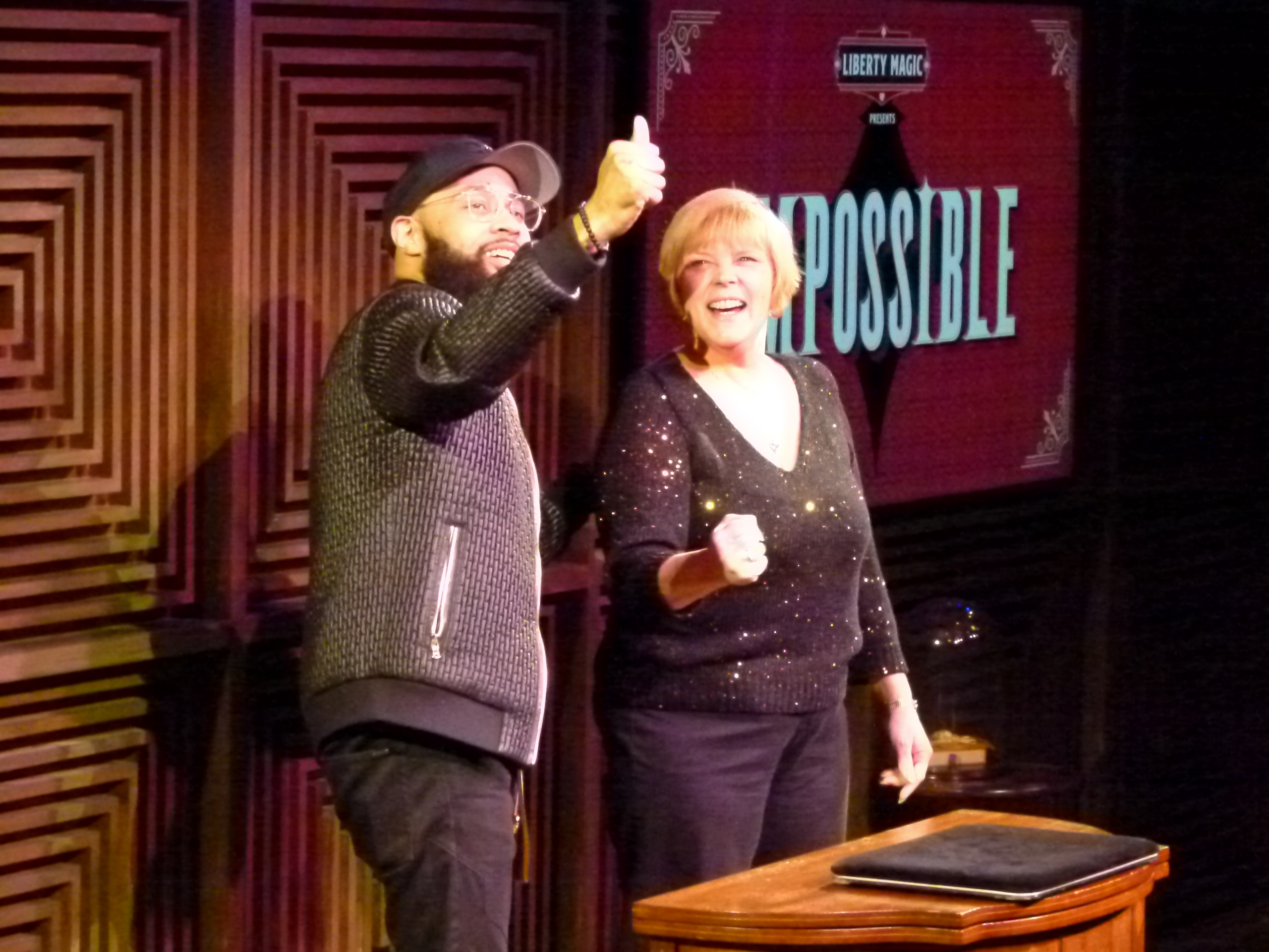Jones and Lynne Fairman, his audience assistant, do some magic with rubber balls.