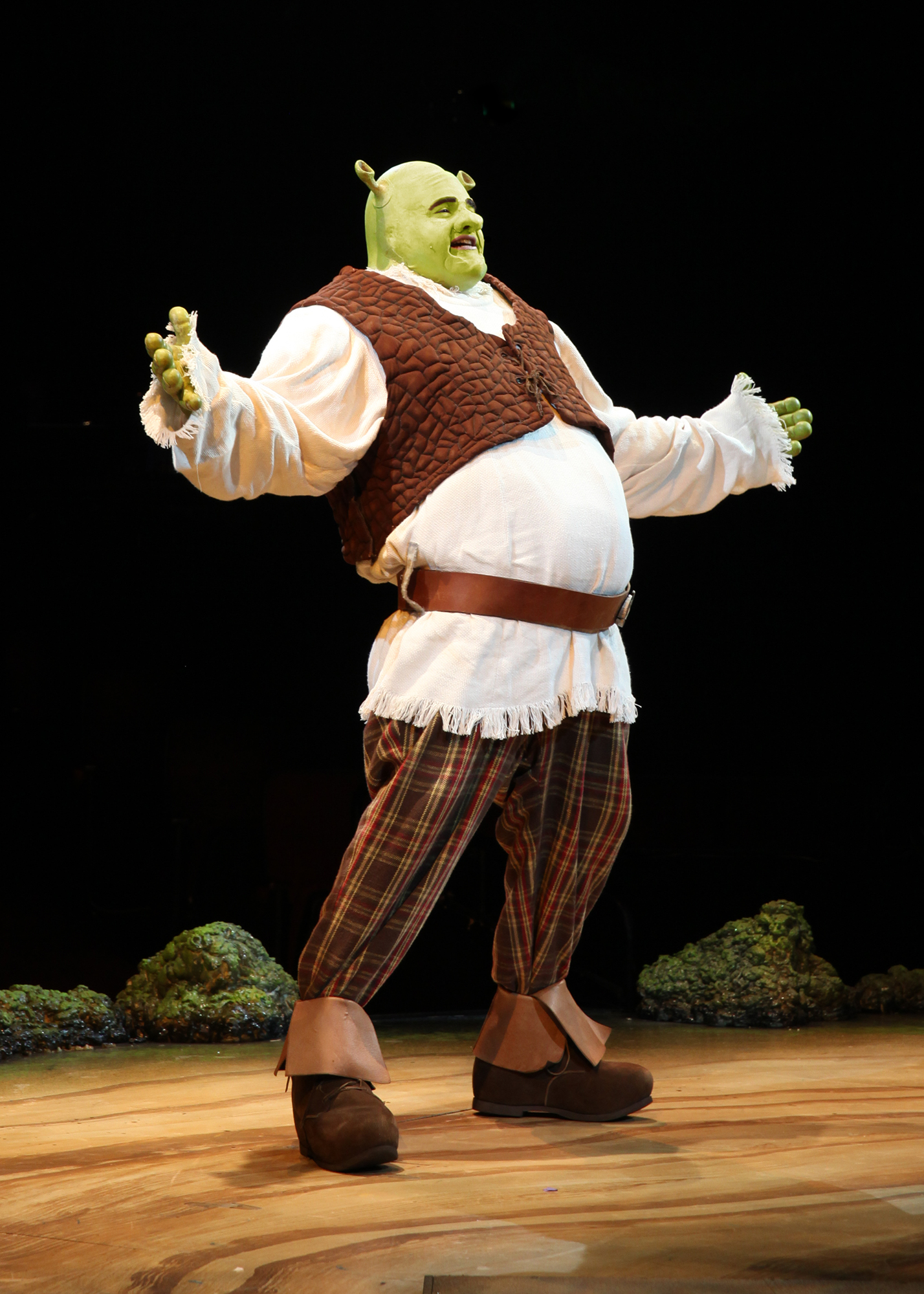 "Did someone call for an ogre? Our hero—shown here as played in an out-of-town production—answers the call in CLO's ""Shrek the Musical."""