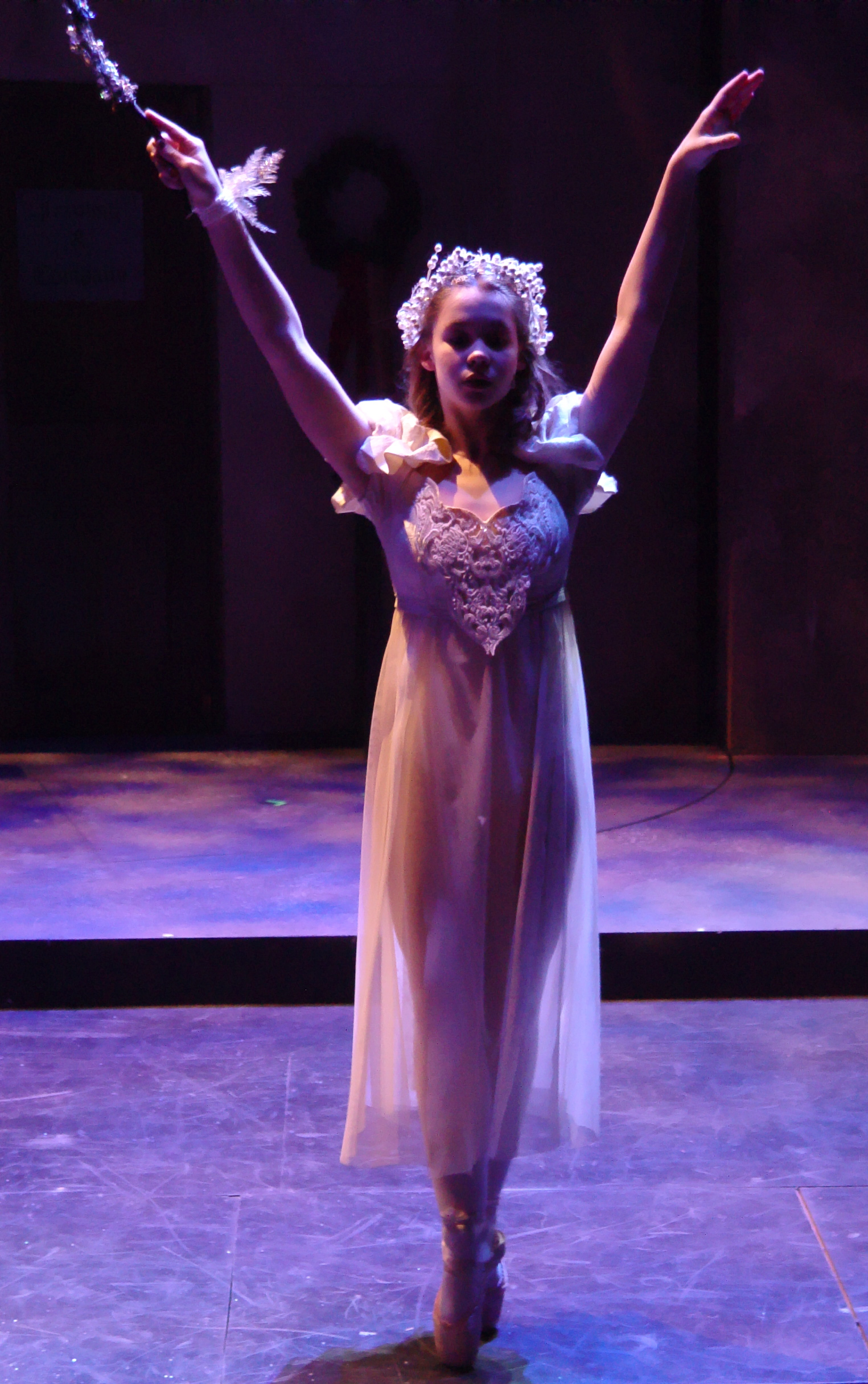 "Come fly with me, said a friendly Ghost (Beth Anderson) in a past production of ""A Lyrical Christmas Carol."" Photo: Patti Brahim."