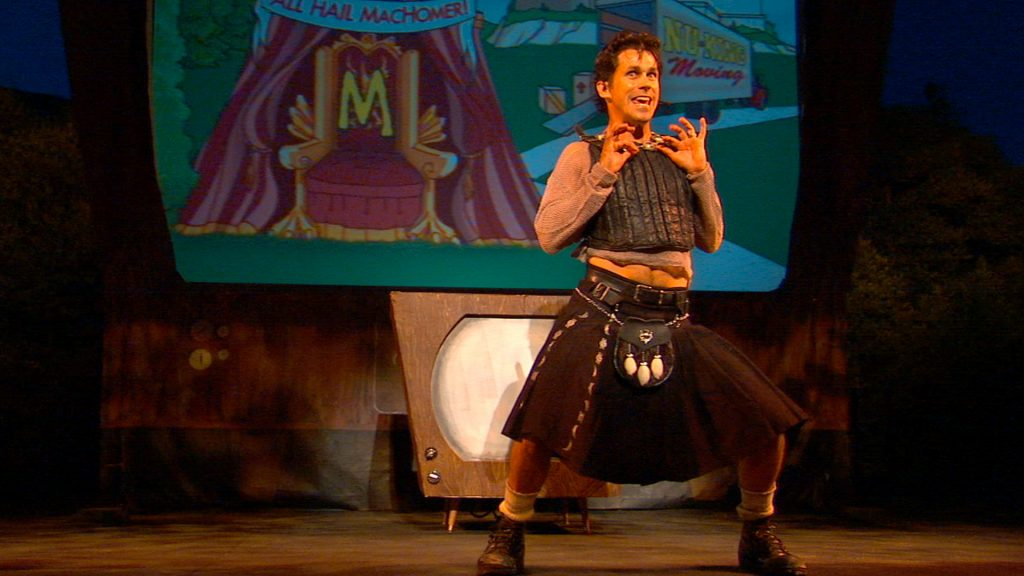 """Rick Miller performs Shakespeare's 'Macbeth' using vocal impressions from """"The Simpsons"""" as part of EQT's Children Theater Festival."""