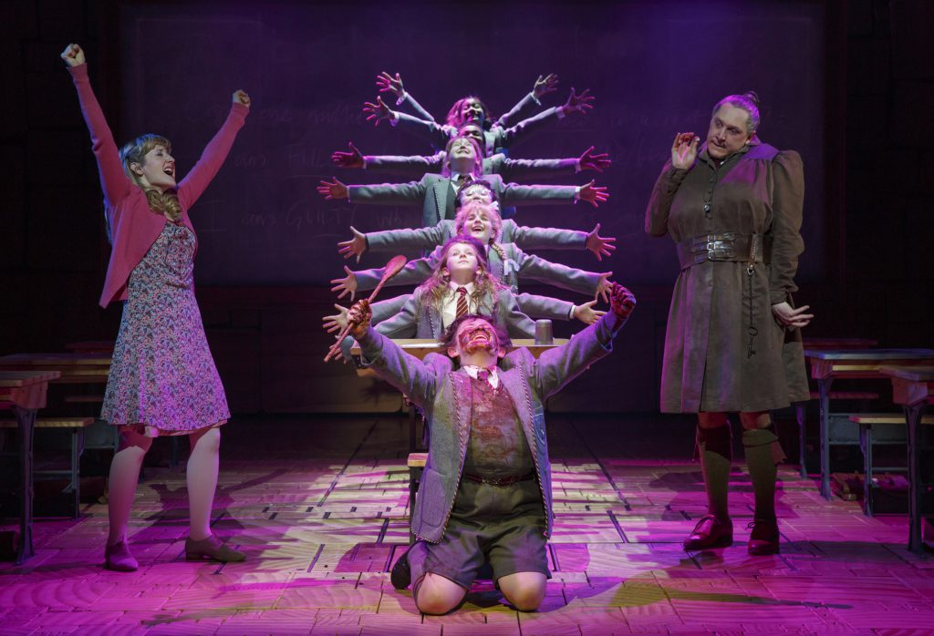 """Childhood is strange and Roald Dahl's vision of it was stranger: This photo from the Broadway production of """"Matilda the Musical"""" may clue you to what the touring show is like."""