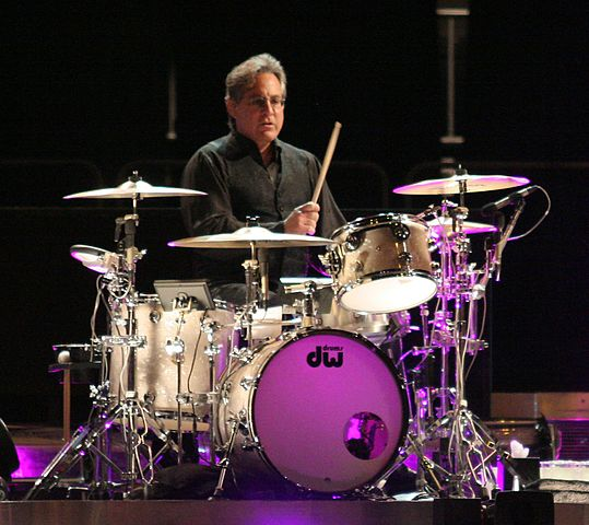 Max Weinberg behind the kit as a member of Bruce Springsteen's E Street band in 2008. photo: Craig O'Neal and Wikipedia.