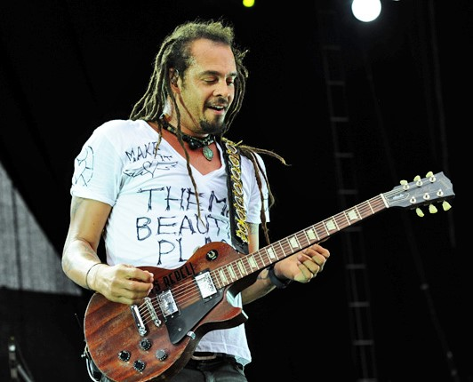 Michael Franti performing in 2011 at the West Coast Blues 'n' Roots Festival in Freemantle, Western Australia.. photo: Stuart Sevastos