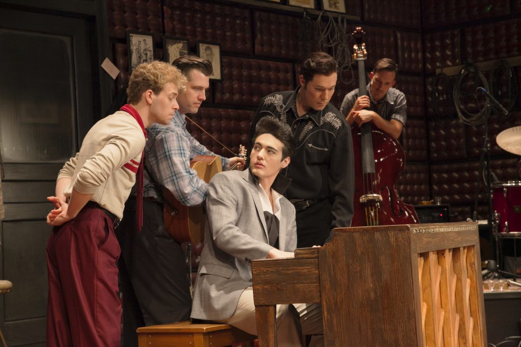 A jam session scene from The 2015 Ogunquit Playhouse production of 'Million Dollar Quartet.' (l. to r.) Nat Zegree, Robert Britton, Lyons Jacob Rowley, Scott Moreau, Sam Weber photo: Jay Goldsmith.