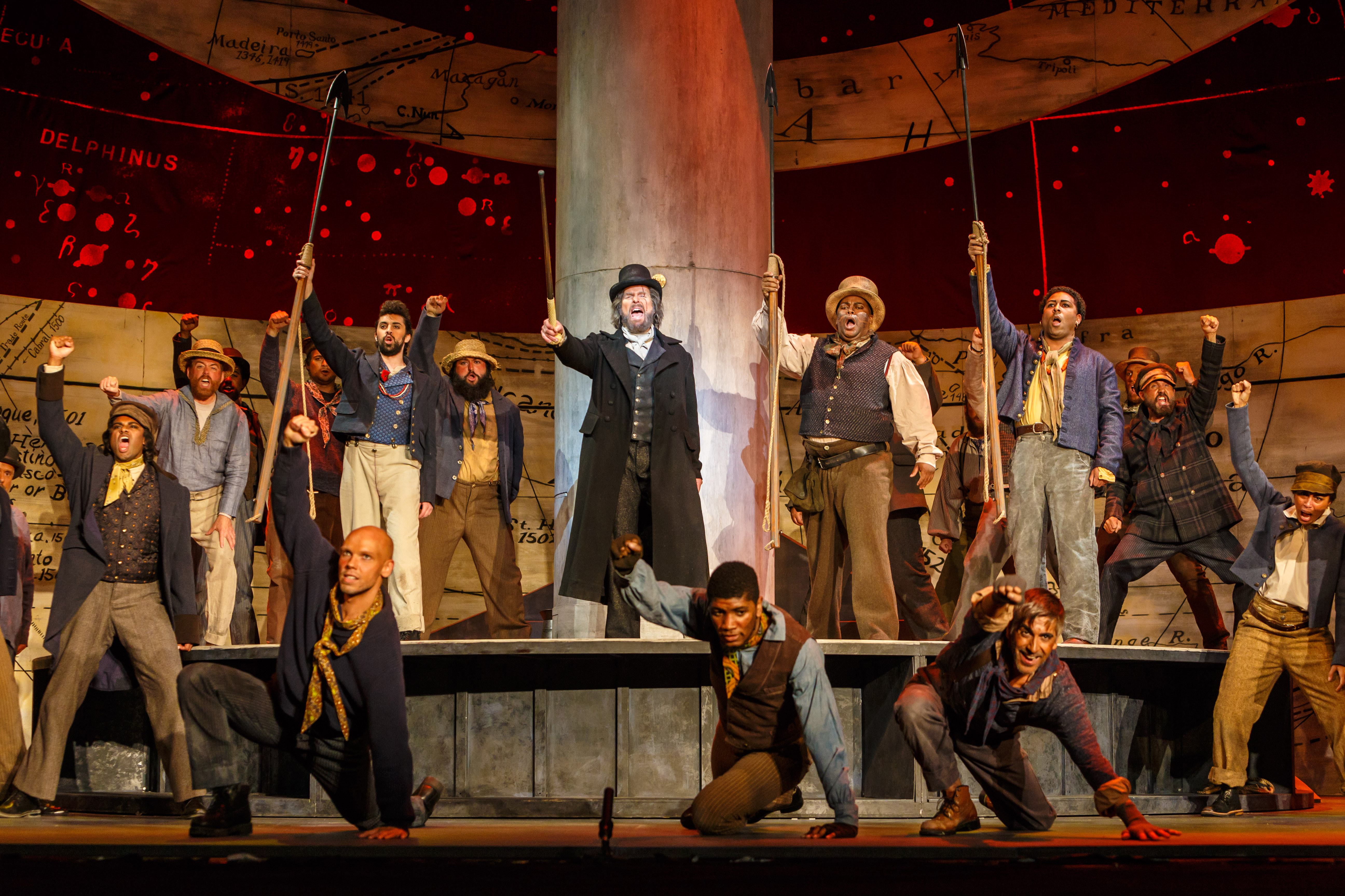 Captain Ahab (Roger Honeywell) whips the Pequod's crew into a frenzy over the thought of killing white whale Moby-Dick in Pittsburgh Opera's stage adaptation of the book. Photo: David Bachman.