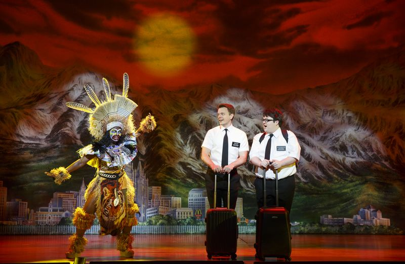 "The Mormon missionaries have their work cut out for them. Left to right: Monica L. Patton, David Larsen, Cody Jamison Strand. ""The Book of Mormon"" national tour. Photo by Joan Marcus 2014."