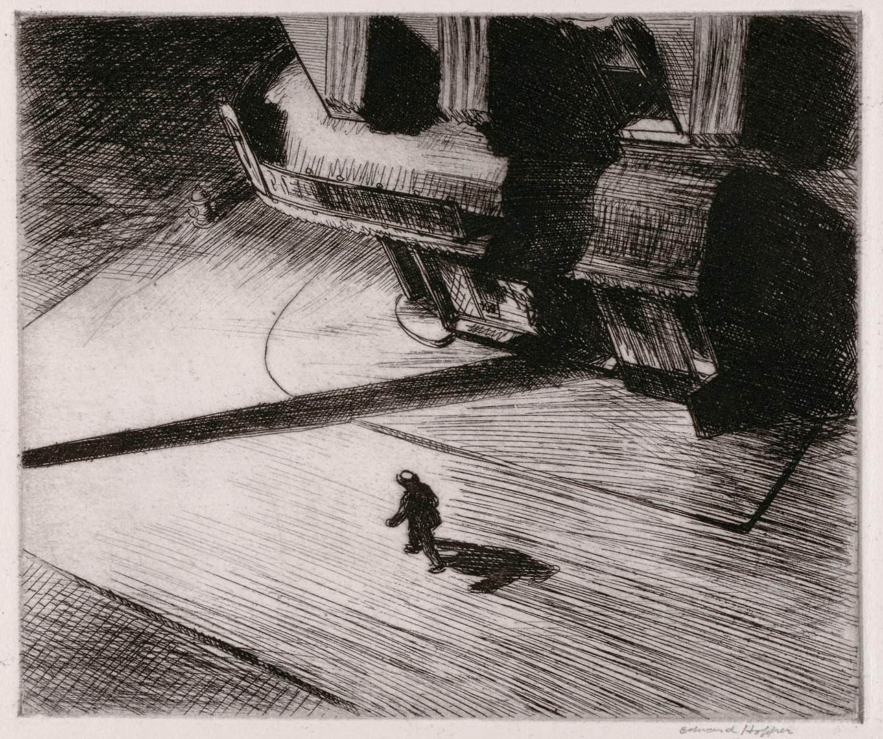"Hopper's spooky 1921 etching ""Night Shadows"" is part of the special exhibit at Carnegie Museum. The show includes bright and sunny rural scenes, too, though it's unsure if this man will find them."