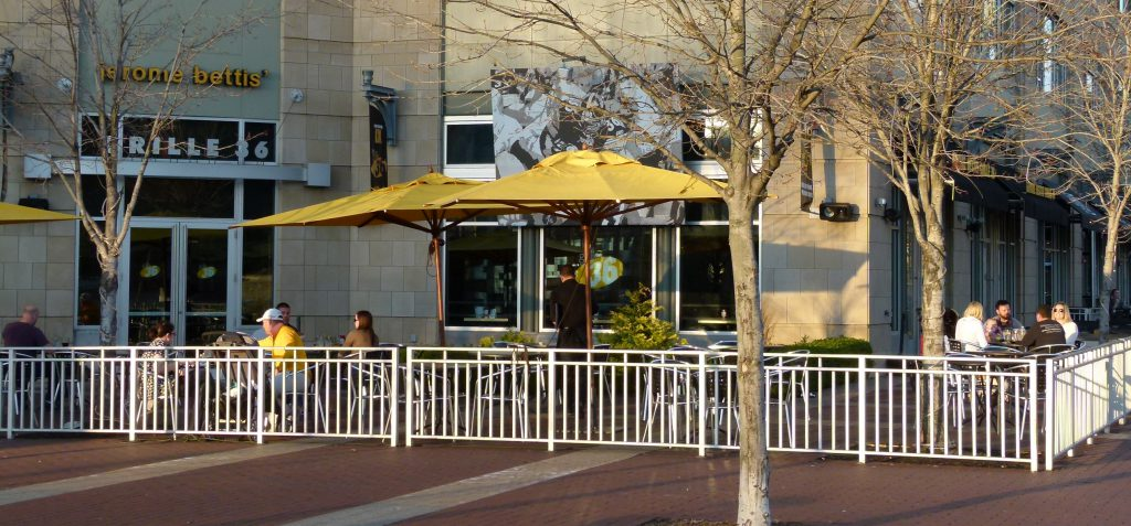 The Jerome Bettis Grille 36 has a quiet place to get away from all the sports on their TVs if desired, the riverside patio.
