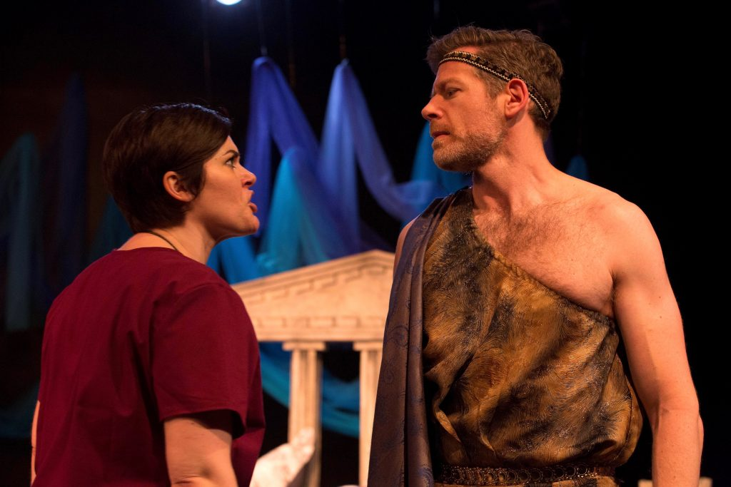 Medea (Drew Leigh Williams) angrily confronts her husband, Jason (Allan Snyder), over his infidelity.
