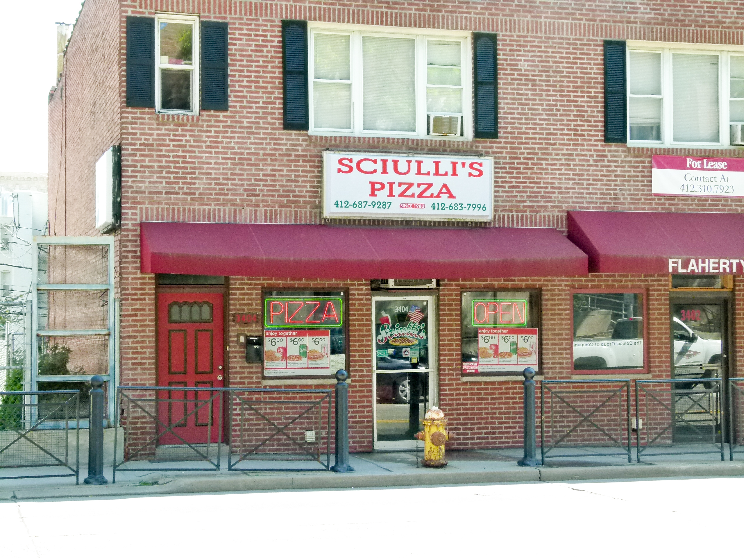Sciulli's Pizza on Fifth avenue near Halket street.
