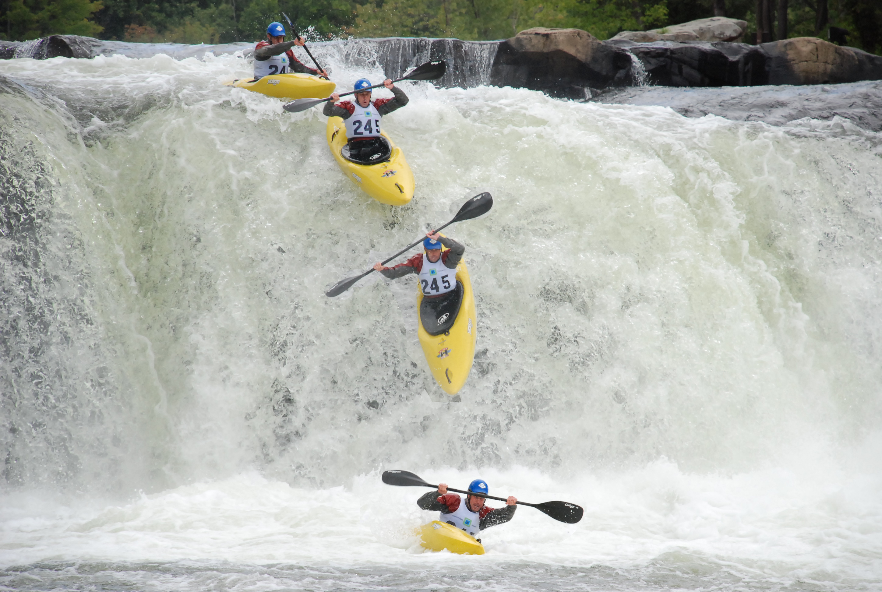 Do not try what this looks like. It's a stop-action composite of one guy, at four stages of a deft ride down the falls at Ohiopyle State Park—which also offers many outdoor thrills for visitors who aren't kayak ninjas. (Photo: 'Wwkayaker22' via Wikipedia)