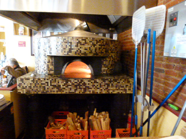 Authentic, wood-burning pizza oven.