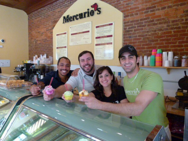 Mercurio's managers and owners with some of their favorite gelato. Left to right, managers Brandon Beatty and Alex Cromer with owners Anna and Michael Mercurio.