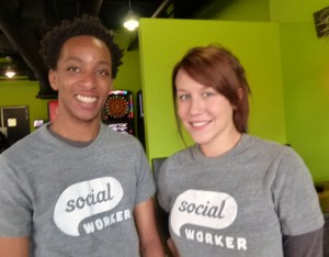 "Two very ""Social"" workers (l. to r.) Addae Pinkeney and Mandy Taylor."