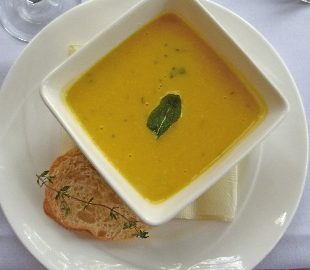 Butternut squash soup with crostini.