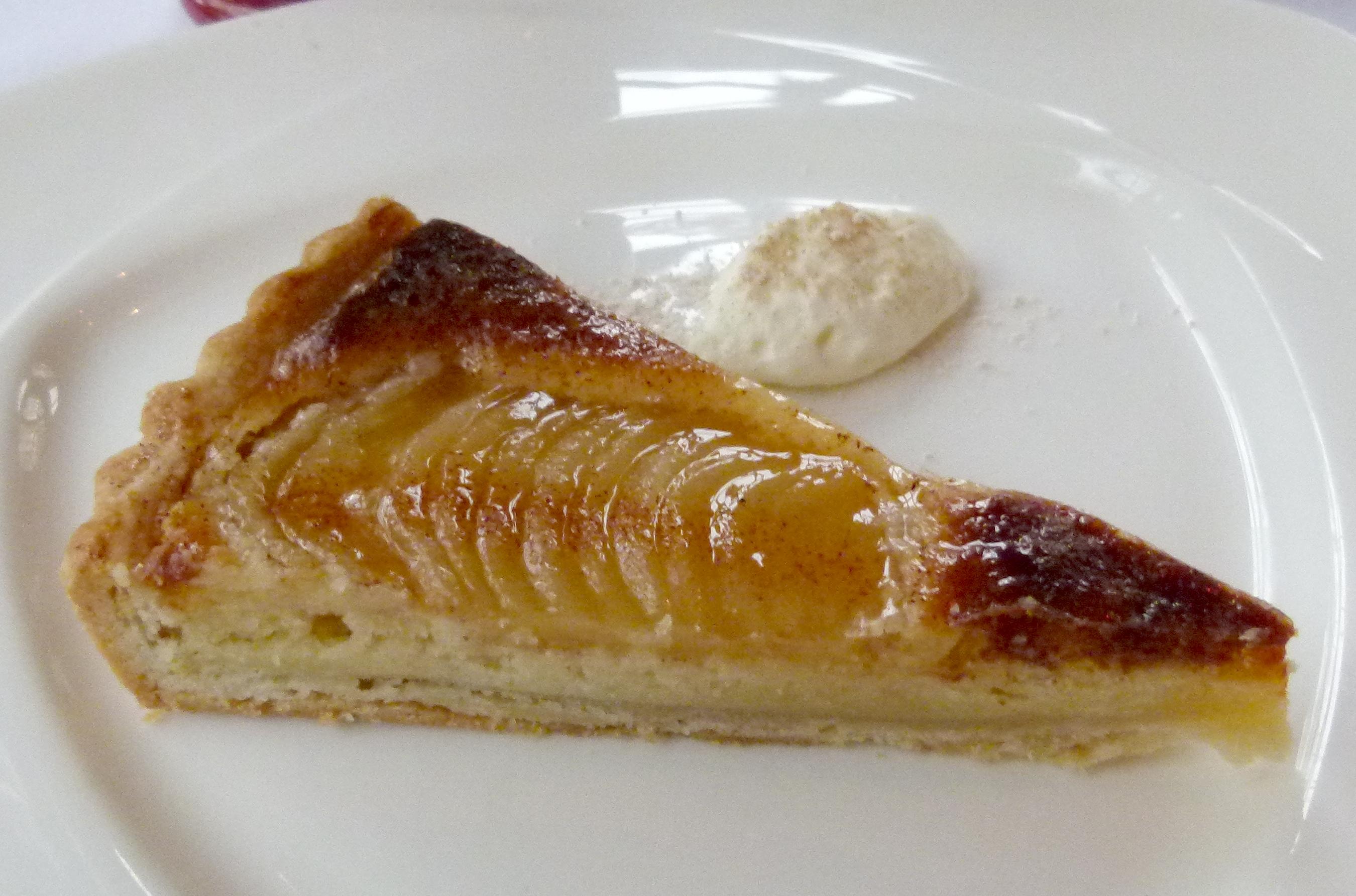Pear almond frangipane tart.