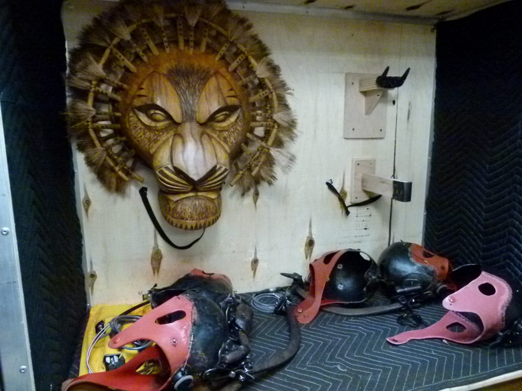 Several components of the Mufasa puppet/costume.