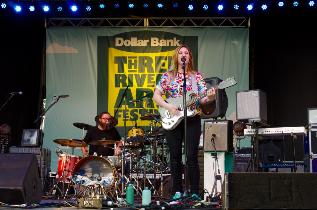 Casey and Jake Hanner in harmony on the Dollar Bank Stage.