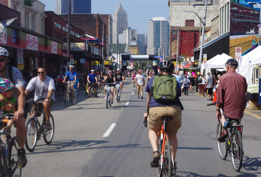 The Strip District was crowded with bikes, walkers, and shoppers during Open Streets PGH.