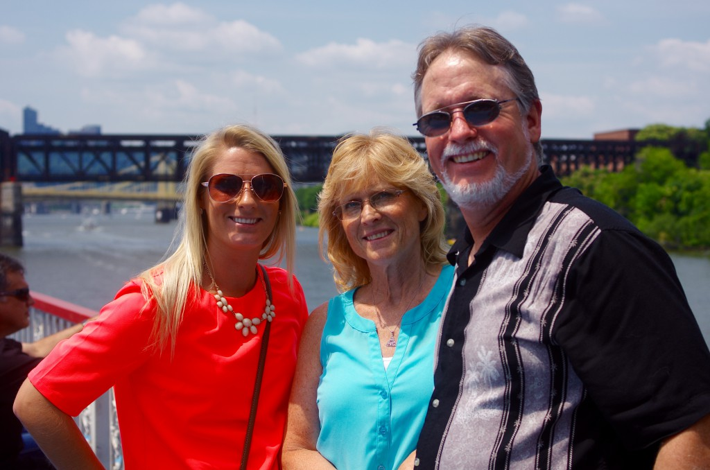 Enjoying the view from the third deck of The Empress, from left, Colleen, Pam and Tom Zysk.