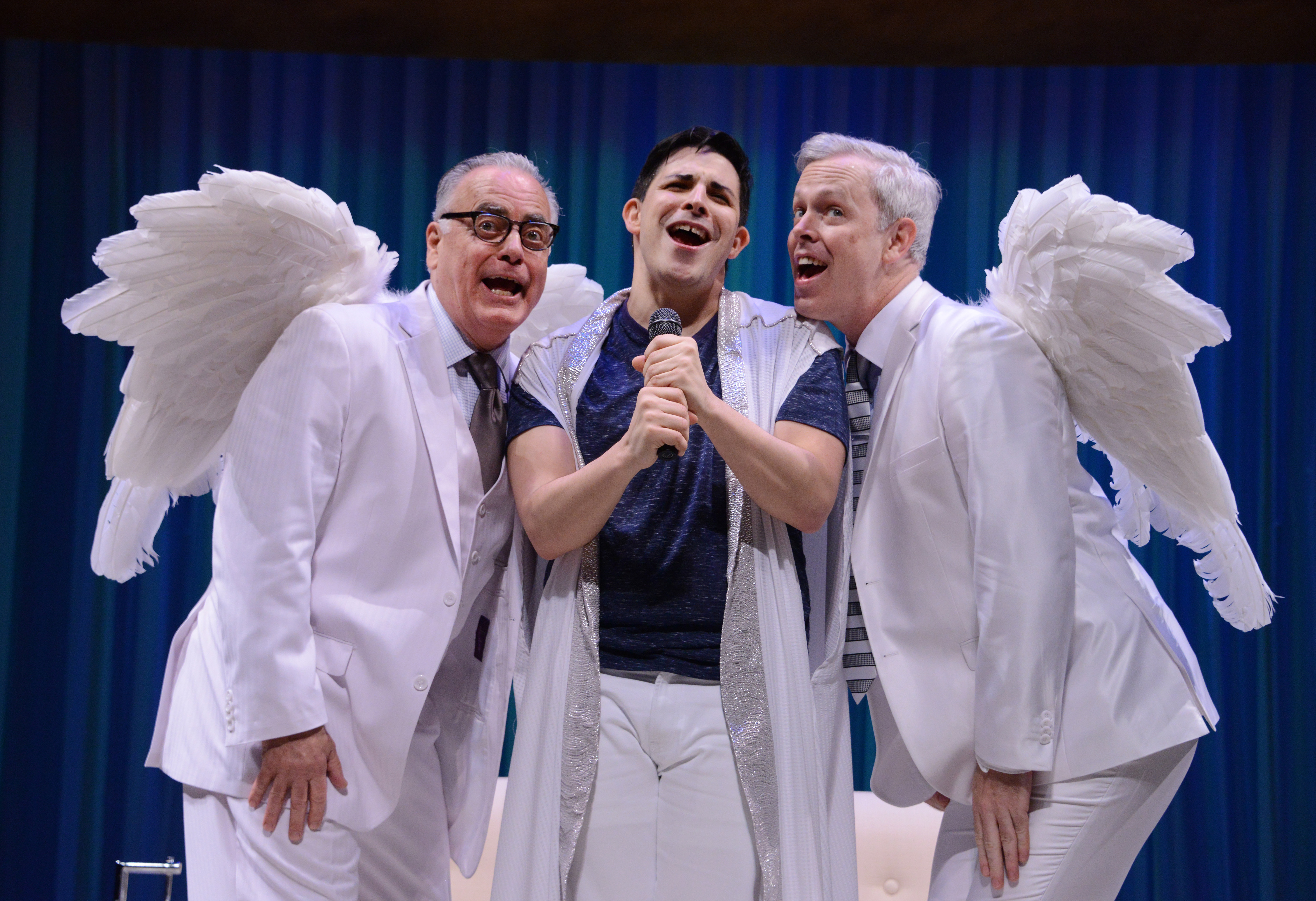Sing it, guys! That's our patriarchal God (Marcus Stevens) in the center, naturally, flanked by angels Gabriel (John Shepard, L) and Michael (Tim McGeever).